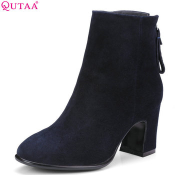 QUTAA 2019 Women Ankle Boots Cow Suede All Match Zipper Winter Shoes Platform Elegant Women Motorcycle Boots Big Size 34-39
