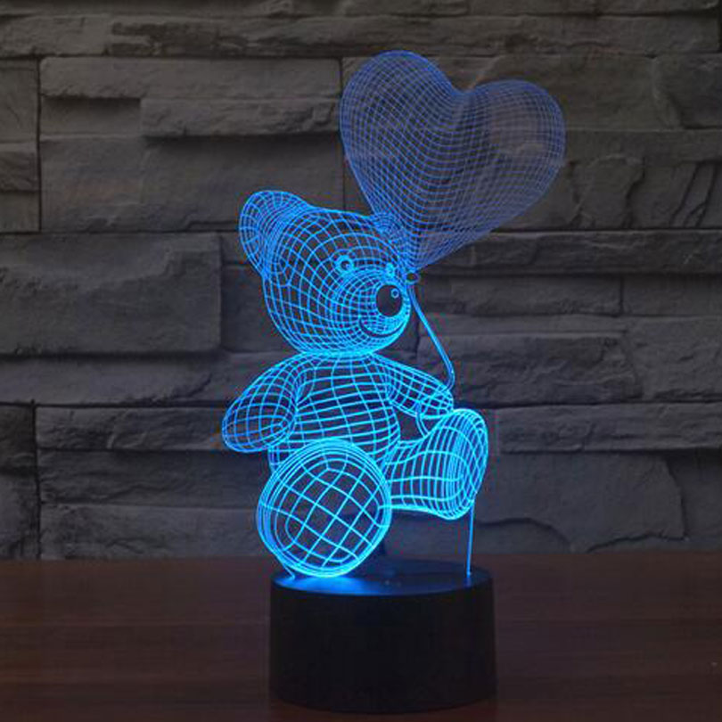 3D Mood Lamp Animal Cute Teddy Bear Bulbing Light Love Balloon Visual Light 3D Touch Button Night Light Creative Lover Gift Lamp