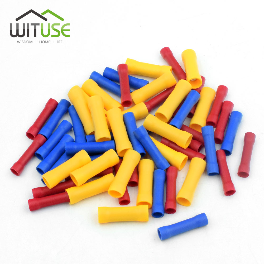 3Color 150Pcs/Box Assortment Wire Butt Cable Insulated Electrical Terminal Connector Block Crimping Copper Tube Splice BV