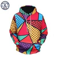 Mr BaoLong Brand Men S Fashion Colorful Diamond Shaped Lattice 3D Printed Hooded Hoodies Men Poket