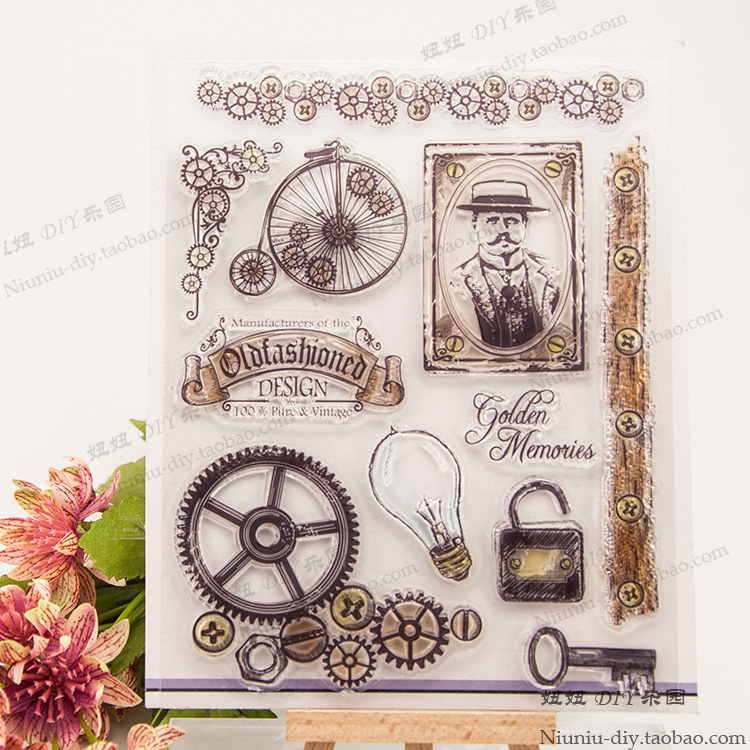 Industrial gear lights retro Clear stamp Scrapbook DIY Photo Album Card Hand Account Rubber Product Transparent Seal Stamp брюки мужские billabong balance cuffed pant 2016 gray s