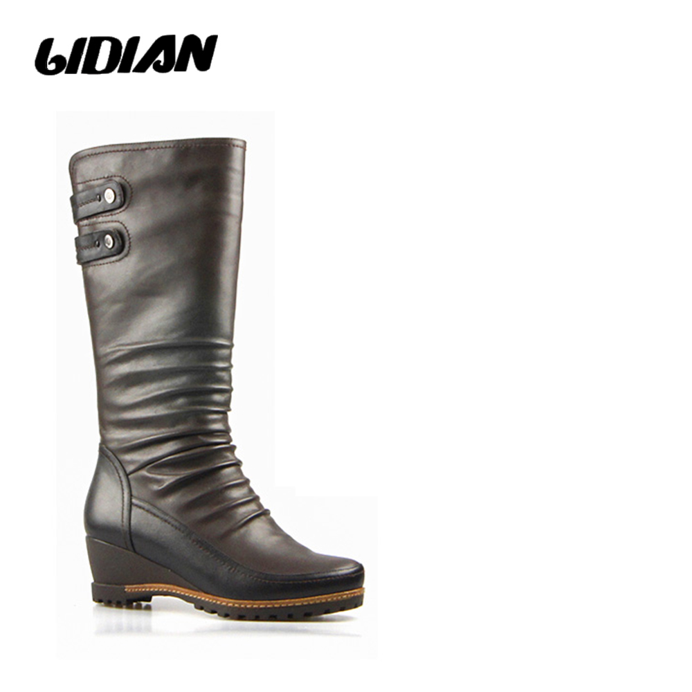 LIDIAN Winter Brown Black high boots Women Metal Rivets High Quality calf leather Warm Wool fur inside knee high Boots H21-1LIDIAN Winter Brown Black high boots Women Metal Rivets High Quality calf leather Warm Wool fur inside knee high Boots H21-1