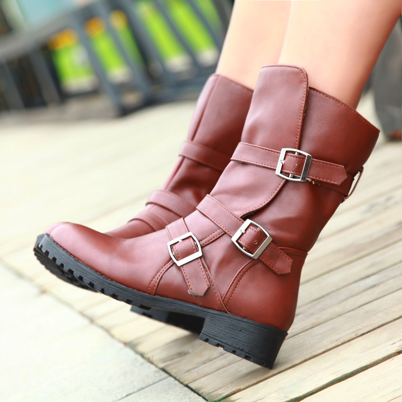Women Winter Snow Boots Mid-Calf Solid Wedges Ladies Height Increasing Shoes Casual Leather Boot Woman Warm Botas Mujer A32 women snow boots winter warm shoes solid color flat ladies snow boots round toe mid calf women boot platform girls school shoes