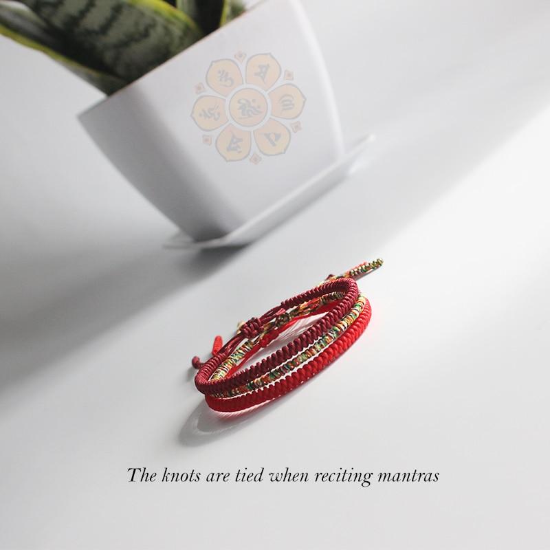 US $5 5  Original Multi Color Tibetan Buddhist Handmade Knots Lucky Rope  Bracelet Size Adjustable Same Model As Leonardo DiCaprio Blessed-in Chain &