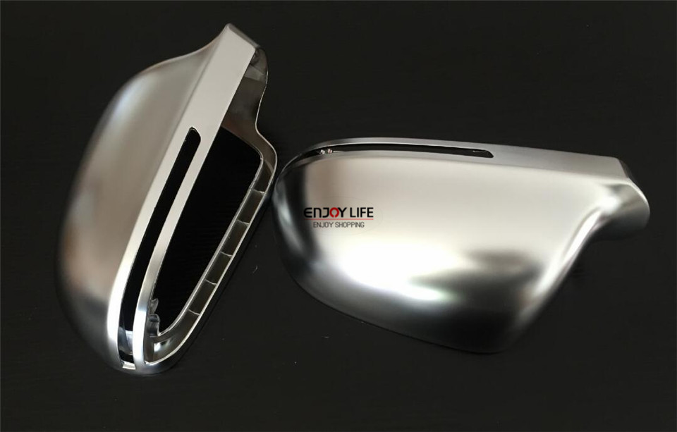 Side Wing Rear View Rearview <font><b>Mirror</b></font> Cover Shell Trim Case Matte Chrome ABS Silver For <font><b>Audi</b></font> <font><b>A8</b></font> S8 <font><b>D3</b></font> 4E 2007-2009 Facelift image