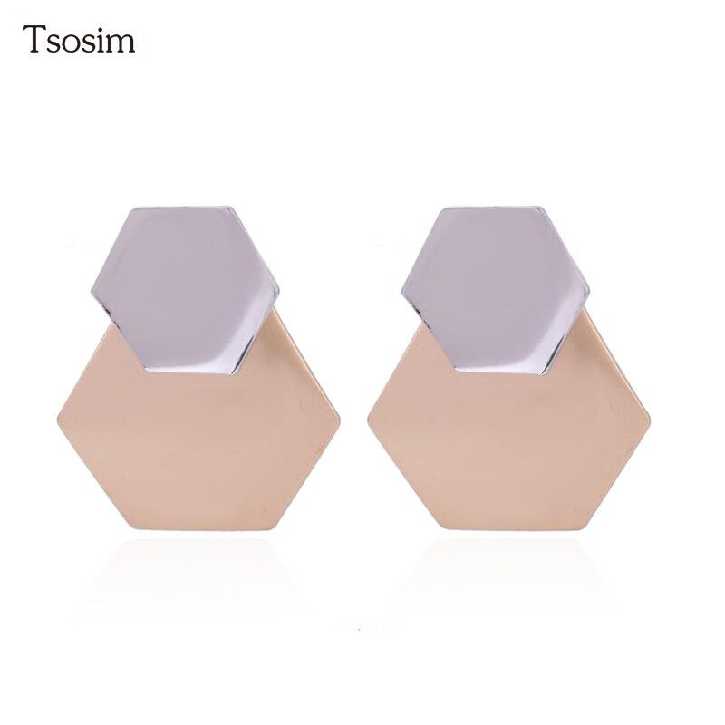 fashion earrings for woman simple geometric Earrings Boutique Geometric Wild Metal gold earrings for women Ear Jewelry Pendants in Clip Earrings from Jewelry Accessories