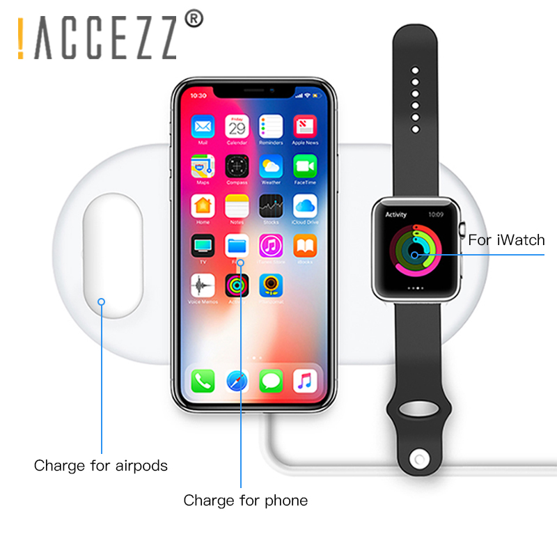 ¡! ACCEZZ 10W 7,5 cargador inalámbrico rápido Qi 3 en 1 para el iPhone 8 Plus X XS X para los AirPods para Samsung S7 S8 S9 Teléfono universal cargadores