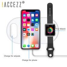 ! ACCEZZ 10 W 7.5 QI Fast Wireless Charger 3 in 1 สำหรับ iphone 8 Plus X XS สำหรับ AirPods สำหรับ Samsung s7 S8 S9 Universal เครื่องชาร์จโทรศัพท์