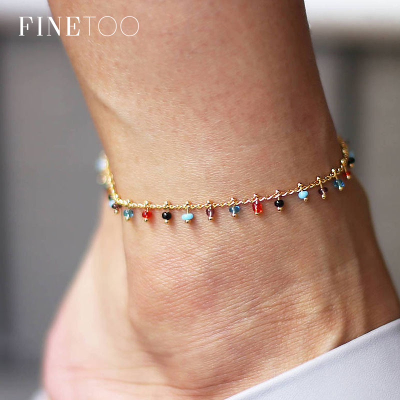 2019 Fashion Colorful Crystal Beads Drop Anklets for Women Bohemian Ocean Beach Ankle Bracelet Leg Bracelet Foot Jewelry