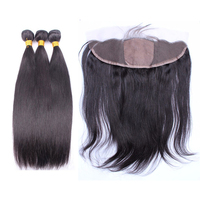 Pre Plucked Silk Base Lace Frontal Closure With Bundles Brazilian Straight Hair Bundles With Closure Remy Hair Natural Black