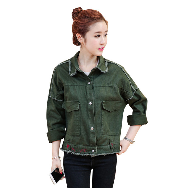 06f4f057dc3 Army Green Denim Jacket Female 2019 Autumn Women Basic Coats Casual Outwear  Short Jeans Bomber Jacket Vintage Coat Tops C3432