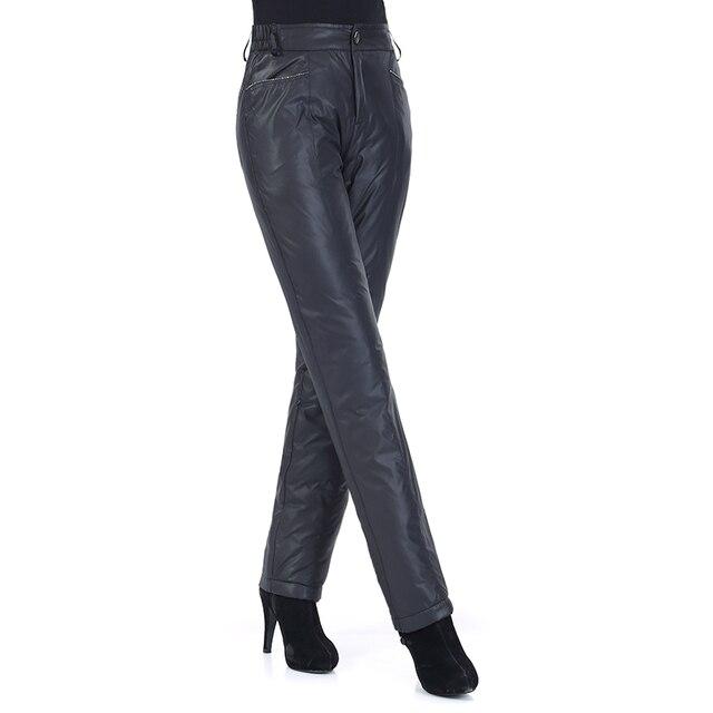 Mujer otoño sólido cintura elástica alta recta gruesa 95% pato blanco abajo  Pantalones mujer invierno 6b0a66e14b69
