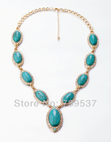 2014 Pure Pure Handmade Oval Blue Stone Classic Necklace
