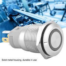 цена на Push Button Switch 40pcs 16mm Self-locking Metal Push Button Switch 12V LED Light 5-Pin rotary switch