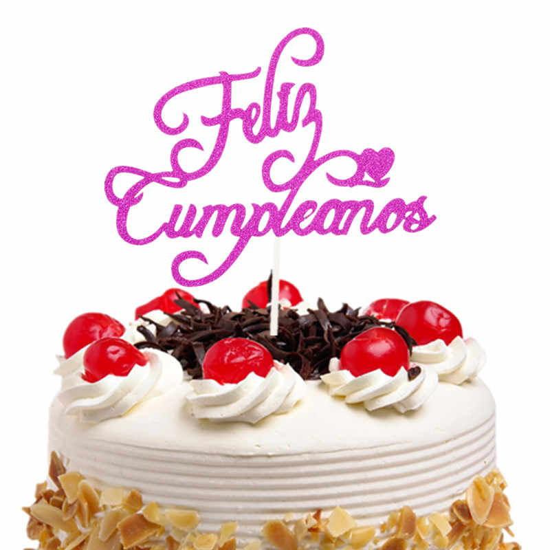 Cake Topper Bonne Fete French Russian Happy Birthday Spanish Feliz Cumpleanos Cake Flags Birthday Party Cake Decor Customised