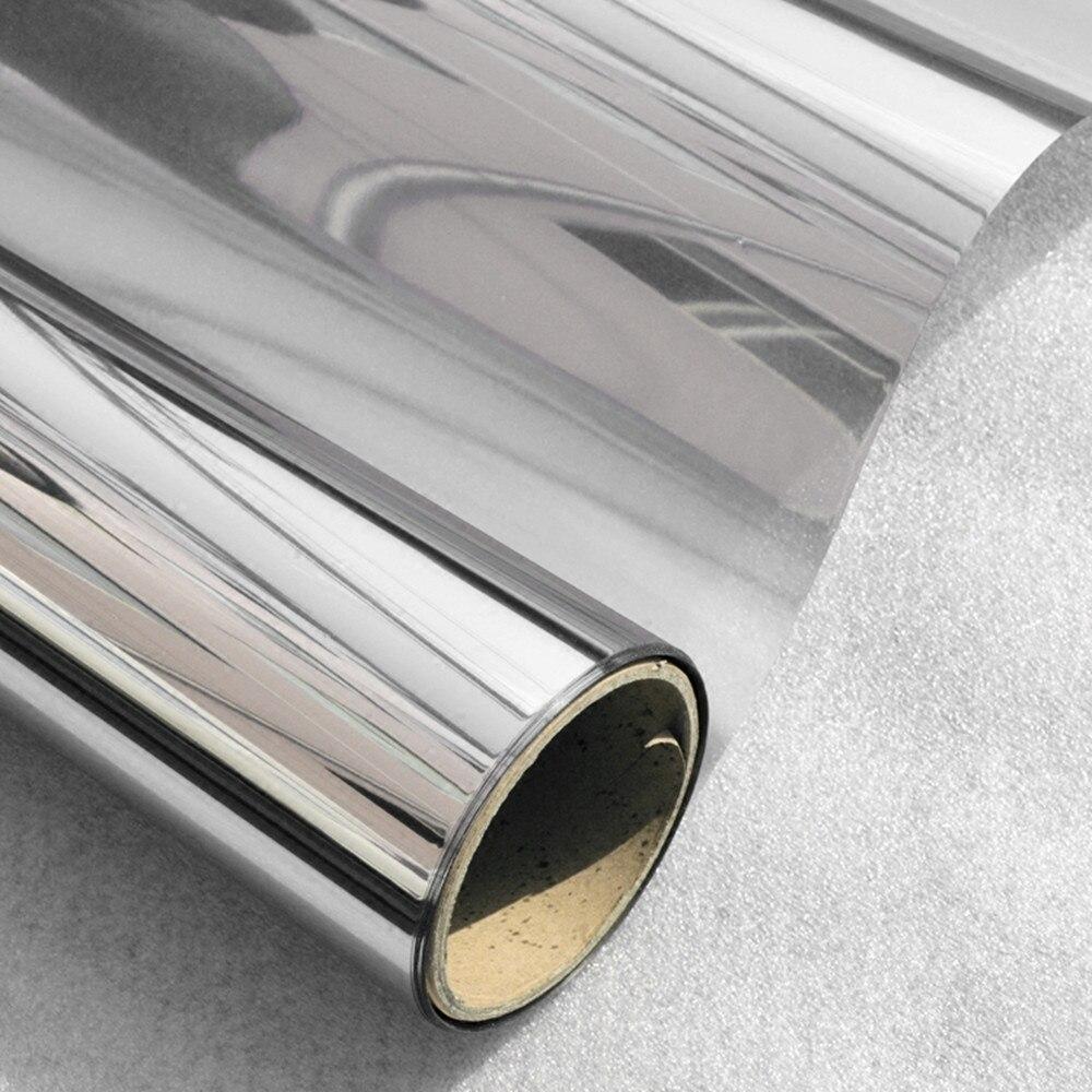 50 cm x 600 cm One Way Gespiegelt Fenster Film Solar Reflektierende Silber Schicht Farbton Zimmer Gebäude Dekor