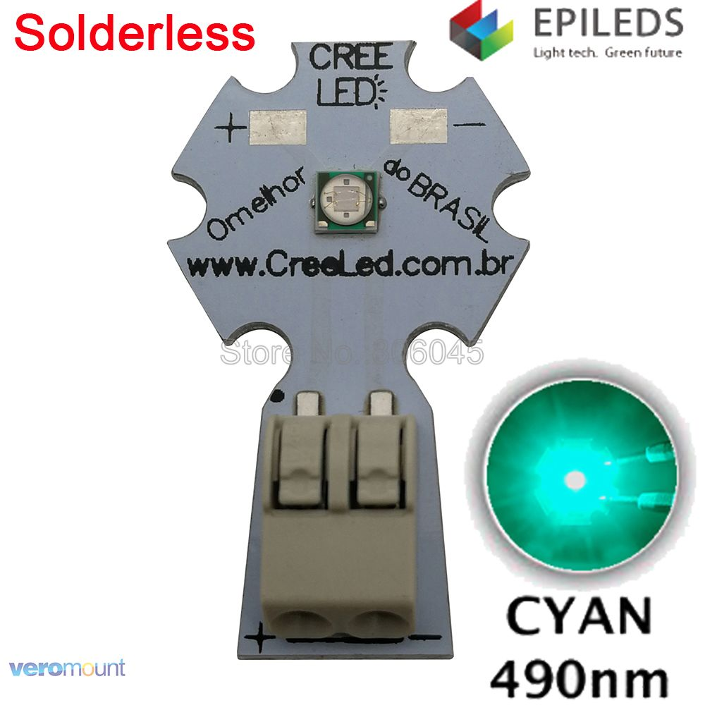 5PCS EPILEDS 3535 3W Cyan <font><b>490NM</b></font> - 495NM High Power <font><b>LED</b></font> Bead Emitter on 20mm Solderless Aluminum PCB Board image
