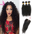 Maxglam Virgin Hair Deep Wave With Closure 7A Silk Closure With Bundles 4 Bundles Maxglam Hair With Closure Human Hair Weaving