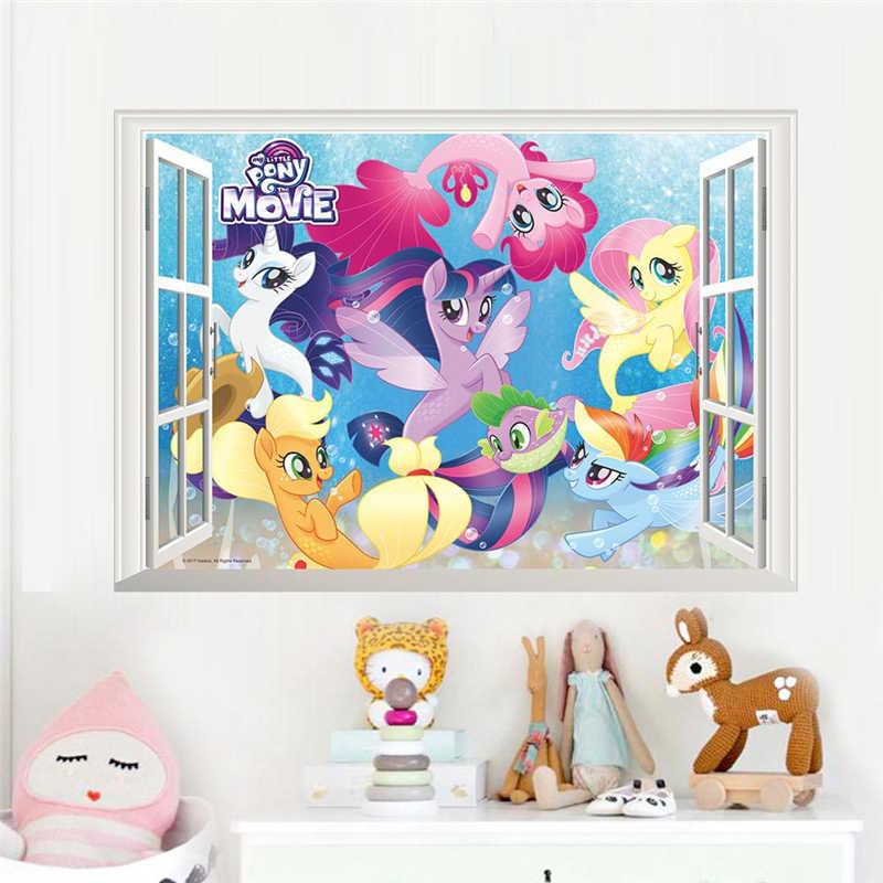 漫画ユニコーンポニー 3d 窓の壁のステッカー家の装飾アニメ動物壁画アートキッズルーム壁デカール Pvc 映画のポスター