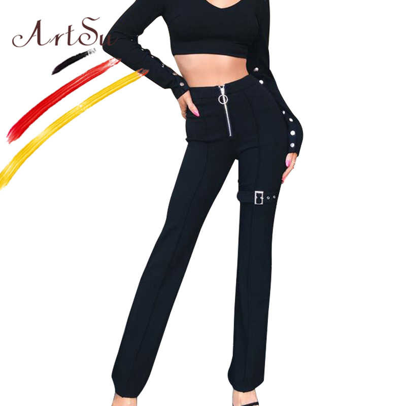 ArtSu Empire Front Zipper Casual Long Pants Women Fashion Sashes Slim Trousers Streetwear Office Black White Pantalones Mujer