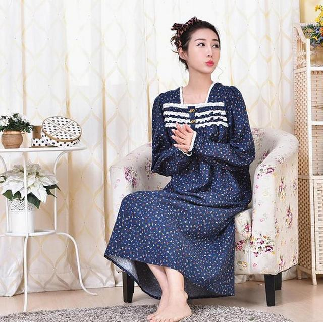 Spring and autumn women's 100% thickening cotton princess loose ultra long nightgown dress AW320
