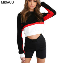 MISAUU 2018 Women Spring Autumn Cute Hoodies Long Sleeve Loose Crop Top Sweatshirt Casual Patchwork Pullover sudadera mujer