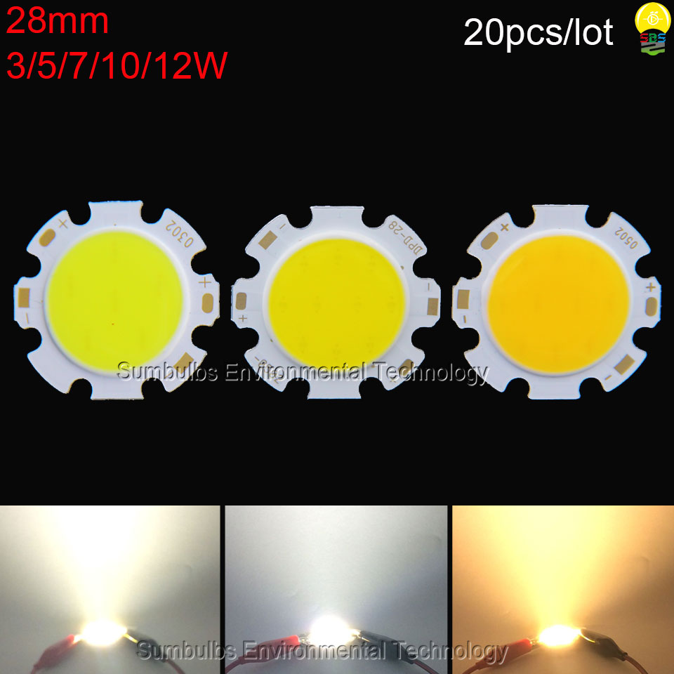 20pcs/lot warm nature cool white 3W 5W 7W 10W 12W 28mm rounded COB Chip LED light source for spotlight downlights ceiling lights 50pcs lot high power led 1w 3w bulbs 30mli 45mli 1w 3w led chip rgb white warm white nature white red green blue light source