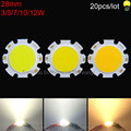 20pcs/lot warm nature cool white 3W 5W 7W 10W 12W 28mm rounded COB Chip LED light source for spotlight downlights ceiling lights