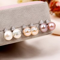 Freshwater Pearl Sterling Silve Earrings Clearance Sale With Free Shipping