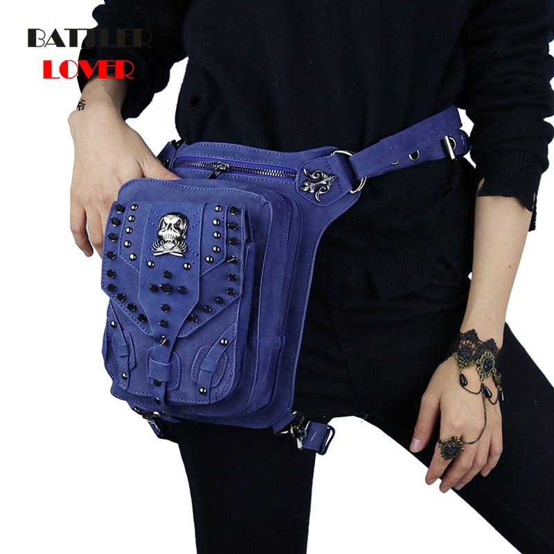 Women Gothic Leather Waist Bags Retro Rock Leg Bags Steampunk Spider Cross Body Bag