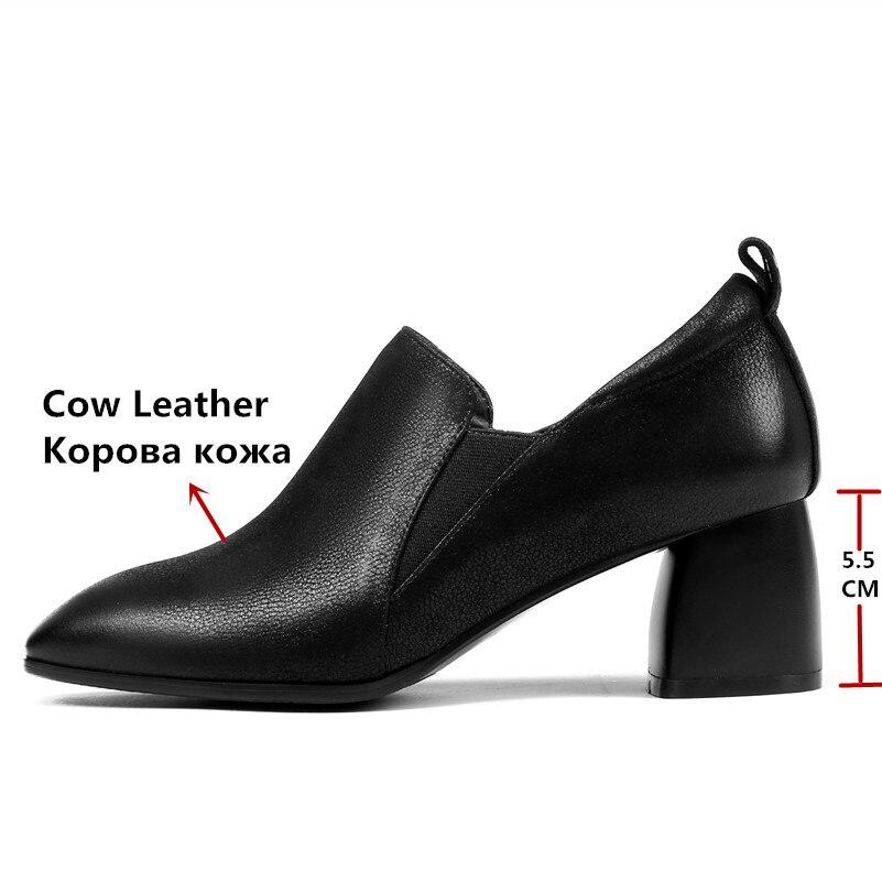 Fedonas 새로운 디자인 신발 여자 진짜 가죽 광장 발가락 슬립 신발에 우아한 높은 뒤꿈치 펌프 고품질 사무실 펌프-에서여성용 펌프부터 신발 의  그룹 3