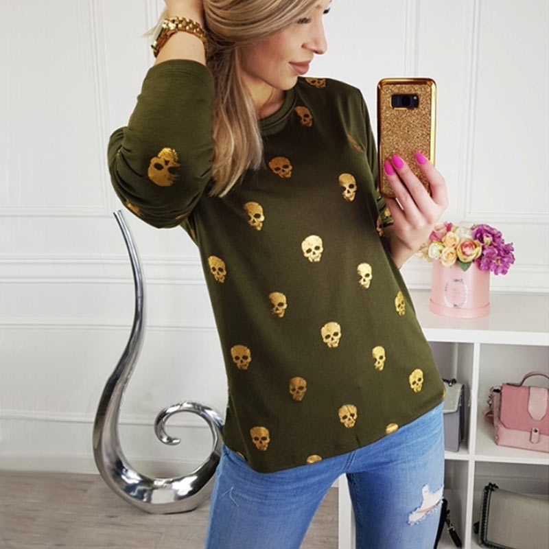 T Shirt Women Streetwear Autumn Skull Bronzing Print Tops Fashion Casual Long Sleeve Round Neck Slim Tee Shirt Femme Clothes (7)