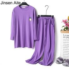 Jinsen Aite Хлопок Весна пижамный комплект для женщин с длинными рукавами, топ с круглым вырезом+ штаны свободного покроя размера плюс одежда для сна JS757