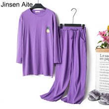 Jinsen Aite Cotton Spring 2019 Pajamas Set for Woman Long Sleeves Round Neck Top+Pants Loose Casual Plus Size Sleep Wear JS757