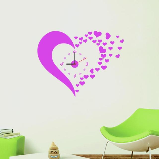 new home fashion wall clock pink heart wall decal sticker real clock