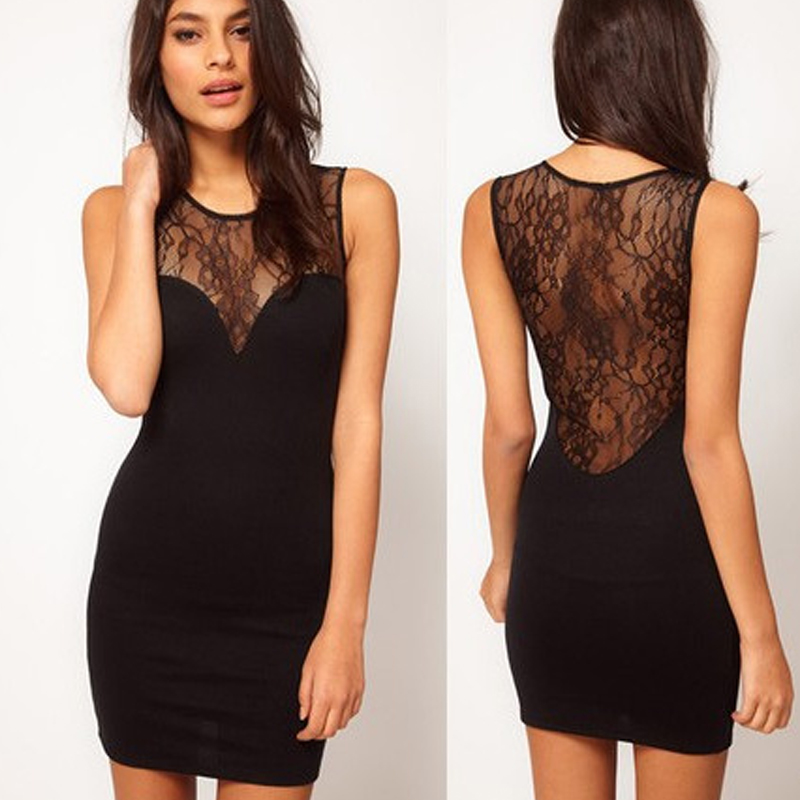 Sexy Club Party Black Lace Mini font b Dress b font Slim O Neck Sleeveless Patchwork