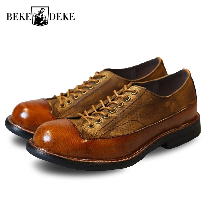 Brand Luxury Genuine Leather Round Toe Lace Up Boots Men Casual Retro Winter Boots Male Fashion
