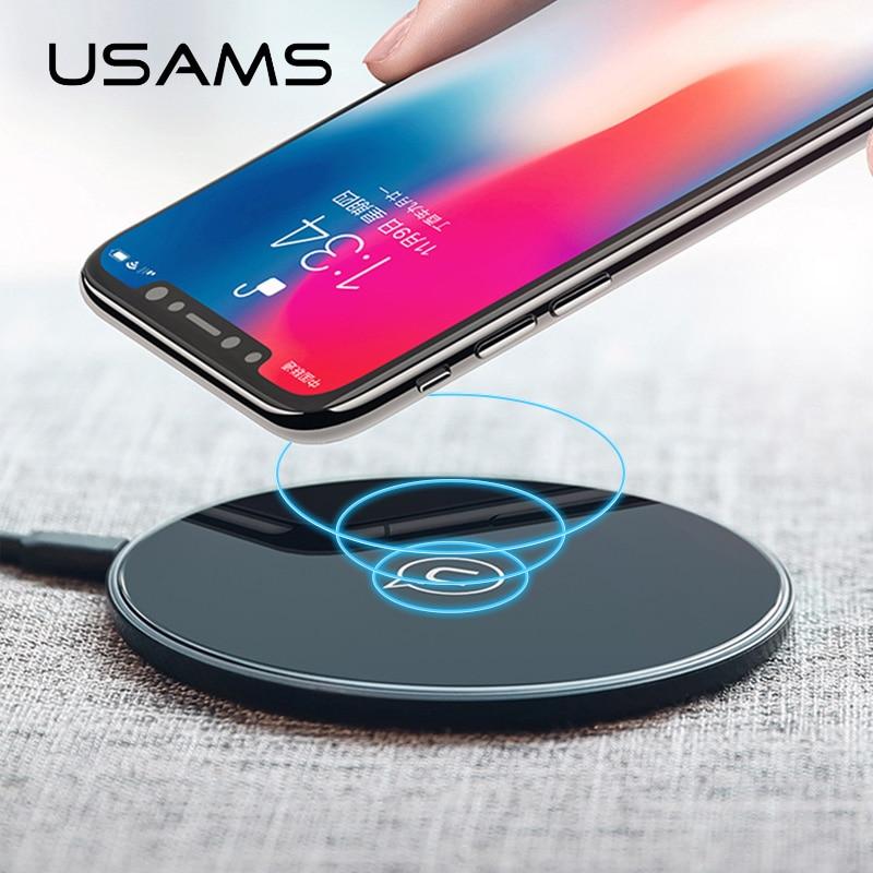 USAMS Qi cargador inalámbrico para iPhone X/XS Max XR 8 8 Plus 10 W 5V2A de vidrio rápido inalámbrico de carga para Samsung S8 S9/S9 + Nota 9 8
