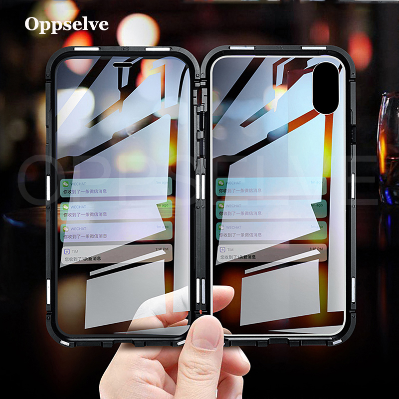 Oppselve Magnetic Case For iPhone XR XS MAX X 8 7 6 6S Plus 8Plus Double Sided Glass Metal Tempered Glass Magnet Cover Capinhas in Fitted Cases from Cellphones Telecommunications