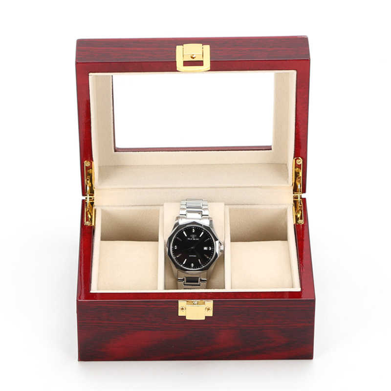 Wood Luxury Watch Boxes MDF Wristwatch Packaging Case Box Rectangle Storage Boxes for Expensive Watch Display Collection 3Grid