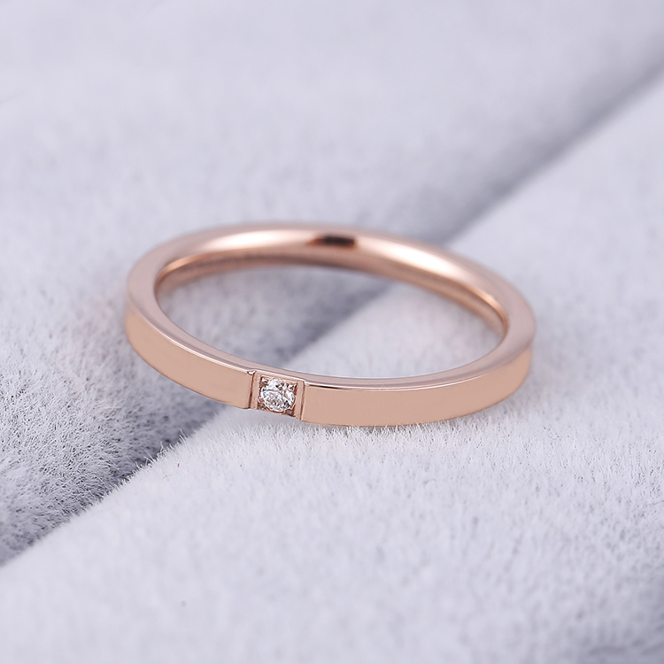KNOCK Top Quality Concise Zircon Wedding stainless steel material Rose Gold Steel color Ring Never Fade  Jewelry 2