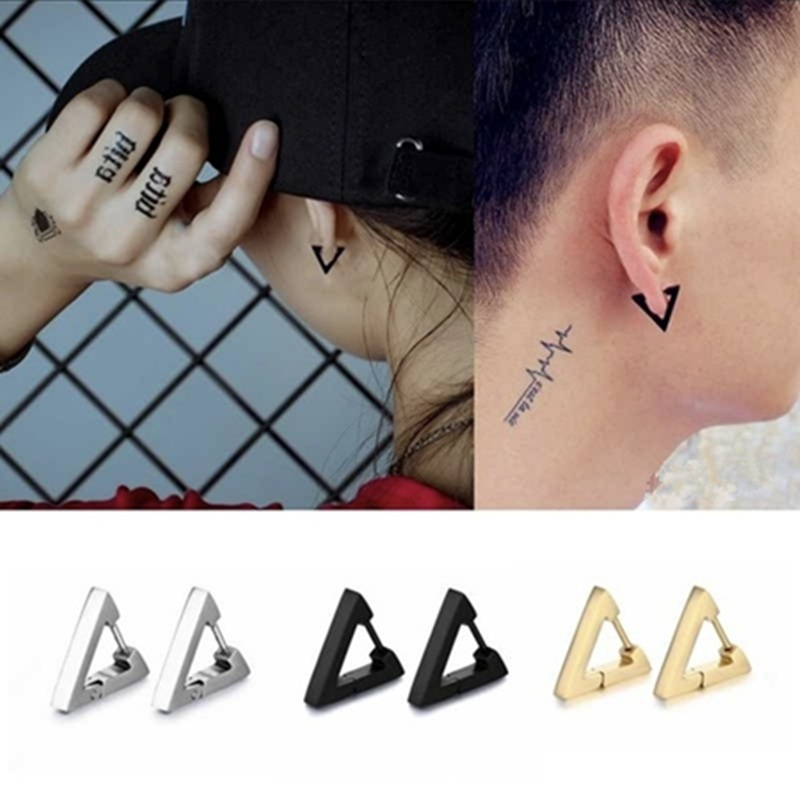 1 pcs Punk Rock Stainless Steel Stud <font><b>Earring</b></font> Triangle Heart Shape With Gold Silver Color Beautiful Fashion Jewelry <font><b>For</b></font> Women <font><b>Men</b></font> image