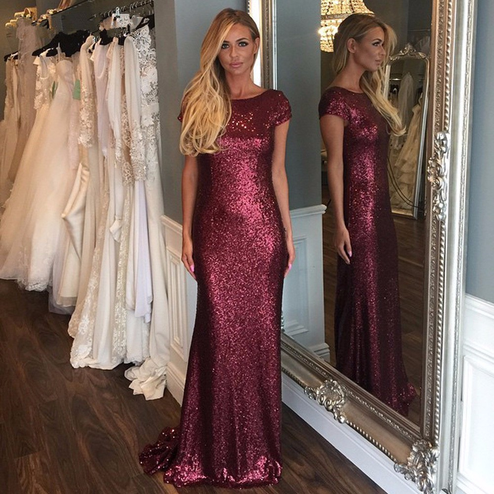 Online get cheap sparkle bridesmaid dresses with sleeves burgundy 2017 mermaid cap sleeves open back sequins sparkle bridesmaid dresses cheap under 50 wedding party ombrellifo Images