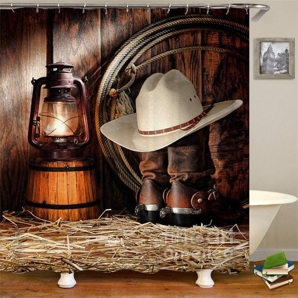 Vintage Western Shower Curtain Art of Cowboy Riding Horse Towards Sunset High Quality Waterproof Curtain For