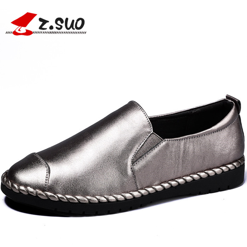 Z.Suo Casual Genuine Leather Women's Flats Shoes Fashion Spring And Autumn Slip-on Solid Female Loafers Women Flats ZS18006N mens casual leather shoes hot sale spring autumn men fashion slip on genuine leather shoes man low top light flats sapatos hot