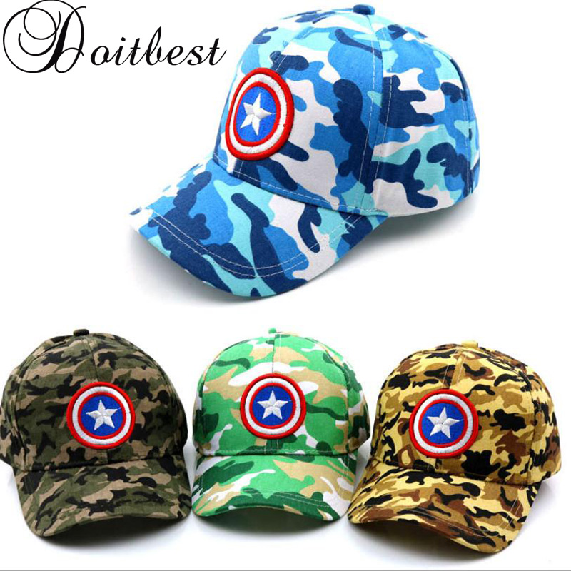 2018 Spring Child Captain America Baseball Cap Camouflage Summer kids Sun Hat  Boys Girls snapback Caps age for 2-9 years old 18ab17dc4434