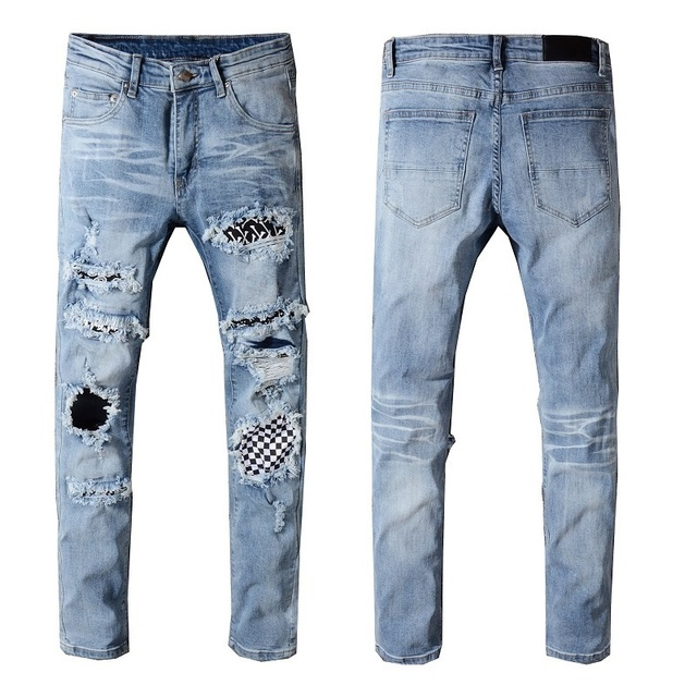 New Italy Style #539# Men's Distressed Destroyed Pants Art Crytals Patches Skinny Washed Blue Jeans Slim Trousers Size 28-42
