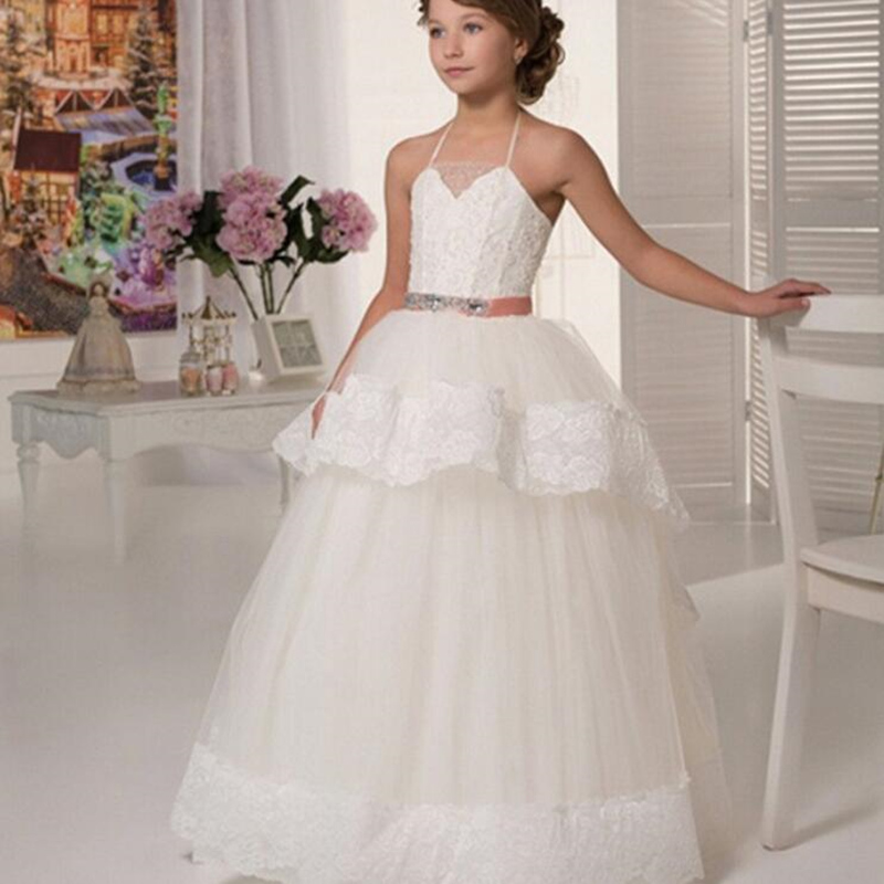 Flower Girl Dresses White Ivory First Communion Dress For Little Girl Square collar Tiered Ball Gown Kids Pageant Dress Custom