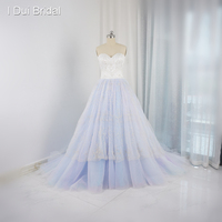 Silver Embroidery Luxury Beaded Rainbow Colored Wedding Dresses Sweetheart Ball Gown Real Photo Factory Custom Made