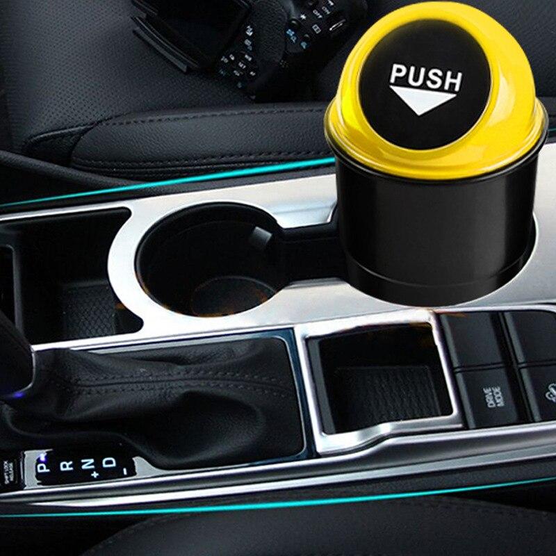 Car Trash Can Ash-Bin Glove Bag Hand Push Mini Garbage Can Car Interior Accessories
